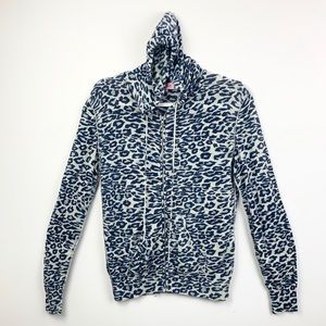Knitwit Cashmere zip up leopard hoodie sweater